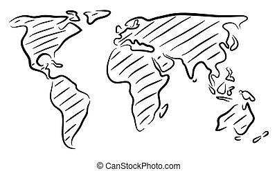 mondo, schizzo, mappa
