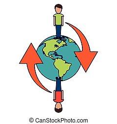 mondo, simbolo, intorno, persone