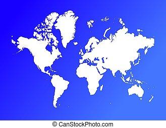 mondo, su, sfondo blu