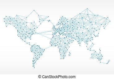 mondo, telecomunicazione, mappa