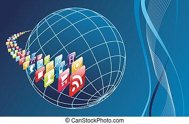 mondo, telefono, apps, globale, arround, icone, mobile