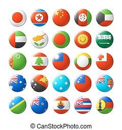mondo, tesserati magnetici, bandiere, rotondo, magneti