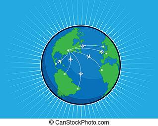 mondo, tracciato, intorno, aeroplano, glo