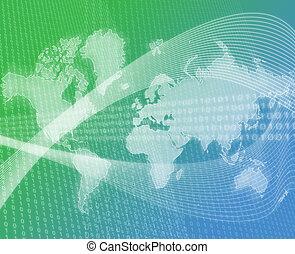 mondo, trasferimento dati, verde
