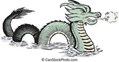 mondo, vecchio, drago mare
