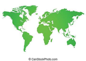 mondo, verde, illustrazione, mappa