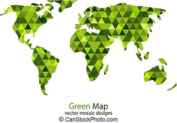 mondo, verde, mosaico, mappa