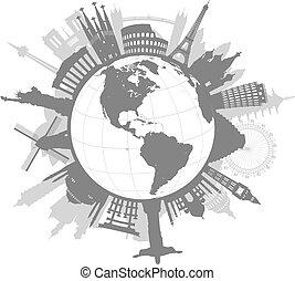 mondo, vettore, intorno, illustrazione, monumenti