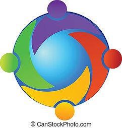mondo, vettore, lavoro squadra, logotipo