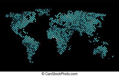 mondo, vettore, pixel, colorito, mappa