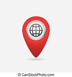mondo, vettore, posizione, rosso, icona