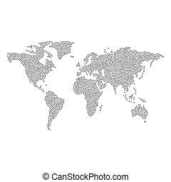 mondo, vettore, punteggiato, mappa