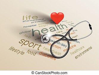 mondo, vettore, salute, giorno, illustrazione