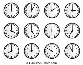 mondo, zona tempo, orologio parete, vettore