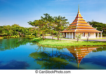 mondop, heer, boeddha, thailand, voetafdrukken, huisvesting