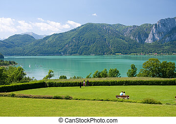 Mondsee lake - scenery of Austrian alpine lake Mondsee