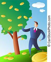moneda, árbol