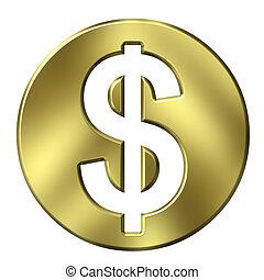 moneda, 3d, dólar, dorado