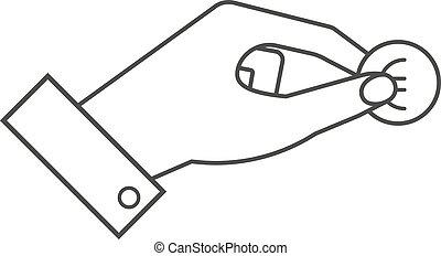moneda, aislado, dedos, dos, vector, tenencia, entre, mano, icono