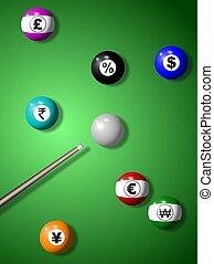 moneda, billiard