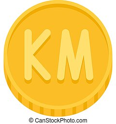moneda, bosnia, herzegovina, convertible, icono, vector, ...