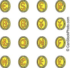 moneda, conjunto, caricatura, iconos