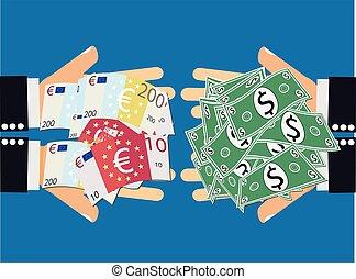 moneda, dólar euro, intercambio