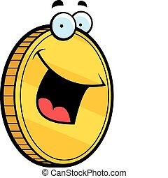 moneda de oro, sonriente