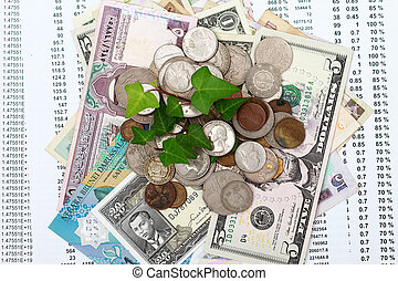 moneda, dinero, con, hoja verde, crecer