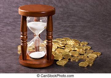 moneda, hourglasses, gris