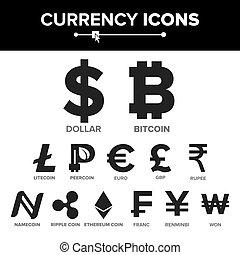 moneda, icono, señal, conjunto, vector., dinero., famoso, moneda mundo, cryptography., finanzas, illustration., bitcoin, litecoin, peercoin, onda, moneda, etherum, dólar, euro, gbp, rupia, franco, renminbi, yuan, ganó