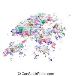 moneda, mapa, hkd, hongkong