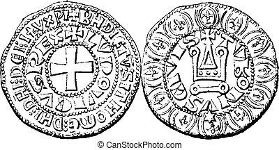 moneda, moneda, louis, ix, de, francia, vendimia, grabado