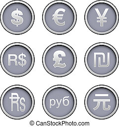 moneda, mundo, conjunto, icono