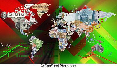 moneda mundo, mapa, con, plano de fondo
