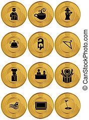 moneda, oro, conjunto, icono, hotel