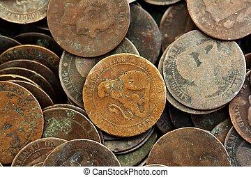 moneda, peseta, verdadero, viejo, españa, república, 1937, moneda, y, centavos