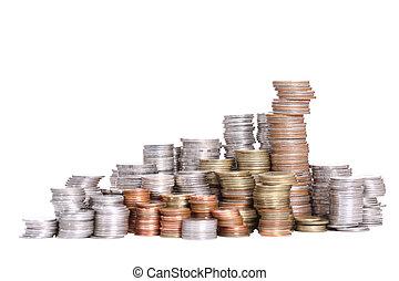 moneda, pila, con, ruta de recorte
