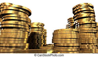 moneda, pilas, oro