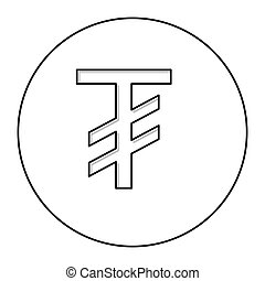 moneda, tugriks, símbolo, icono