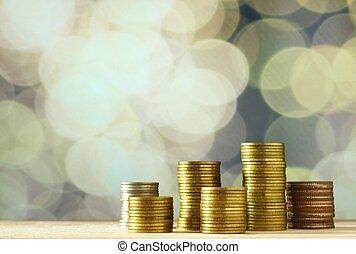 monedas., concepto, dinero del ahorro, concept., currency.