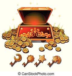monedas., conjunto, illustration., oro, llaves, pecho,...