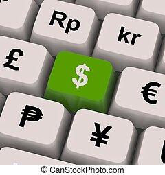 monedas, intercambio, llaves, dinero, actuación, dólar