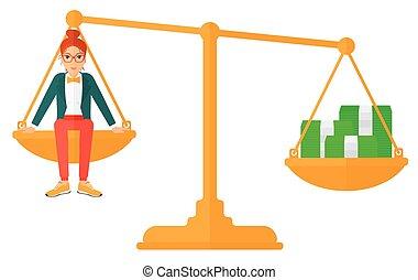 monedas., mujer, escala, sentado