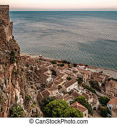 Monemvasia ancient village - View from above of the ancient ...
