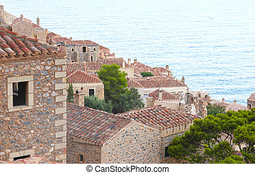 Monemvasia castle Peloponnese Greece