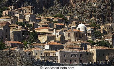Monemvasia Greek island view of stone houses.
