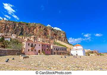Monemvasia houses and church in Peloponnese, Greece - ...