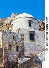 Monemvasia houses and church, Peloponnese, Greece
