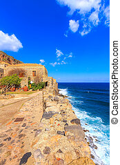 Monemvasia houses and sea in Peloponnese, Greece - ...